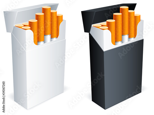 Two cigarette packs with cigarettes. - 34367260