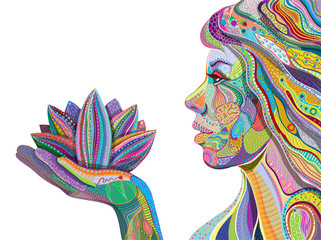 woman face with multicolored indian pattern holding lotus flower