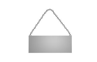 Schild an Metallkette