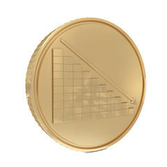 Chart and line down in golden coin