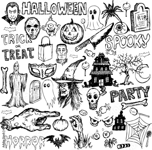 Halloween collection element hand drawn doodles