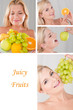 Collage. beautiful healthy woman with many fresh fruits