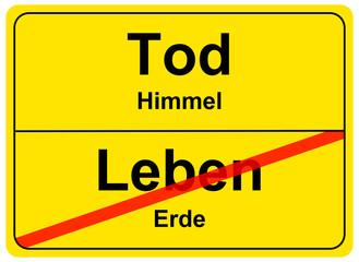 Schild Tod