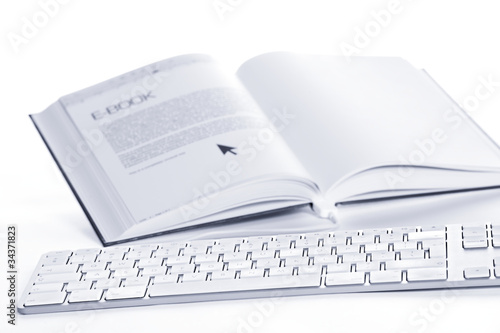 Keyboard connected to E-book