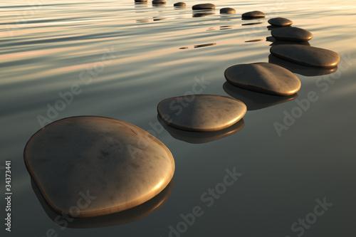 Fototapeta step stones sunset
