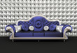 Luxurious sofa with cushion on buttoned background in interior