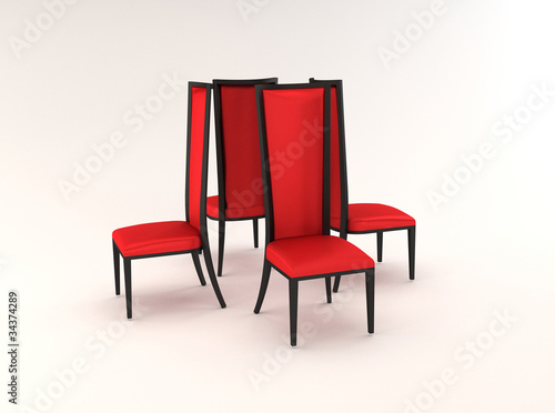 Four chairs isolated on white background