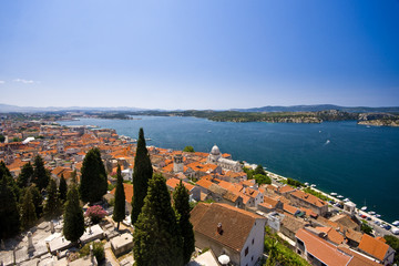 Panorama of old town Sibenik, St.James and the channel