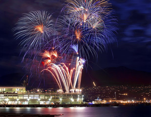 Red Blue White Fireworks Vancouver Harbor British Columbia