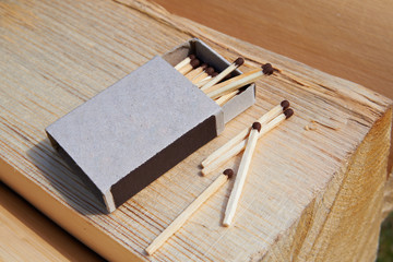 Open matchbox and matches on the wood