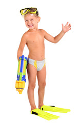 little boy in flippers and a mask with a water pistol