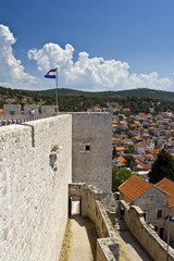 Stonewall and view on Sibenik from St.Micheal fortress