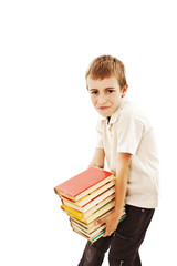 School boy with heavy stack of books