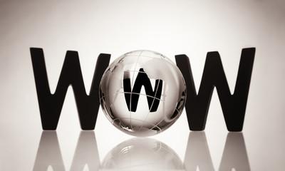 WWW with glass globe.