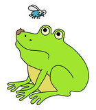 Disgusted fat frog, funny cartoon illustration
