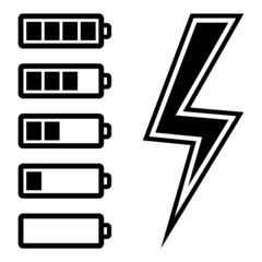 Symbols of battery level, vector illustration.