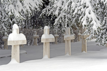 War Pole cemetery covered by snow. Bologna, Italy.