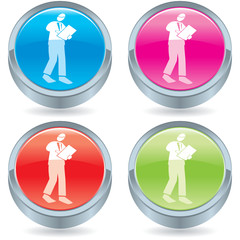 Business icon button-clipboard guy