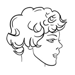 Hand-drawn fashion model. Vector illustration. Man face