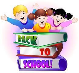 Bambini con Libri di Scuola-Children Back to School-Vector