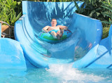 man on the water slide
