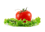 Juicy ripe tomatoes on lettuce
