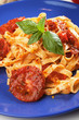 Pasta milanese with basil and tomato