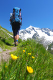Hiker on a mountain path in the Austrian Alps