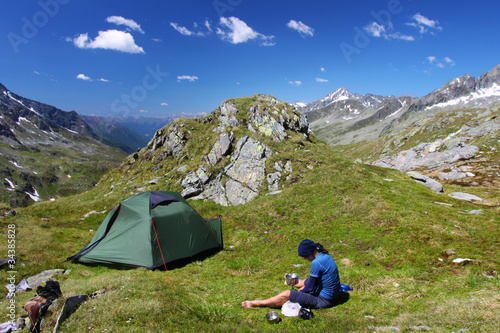 Camping place high in the Austrian Alps
