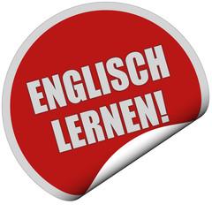 Sticker rot rund curl unten ENGLISCH LERNEN!