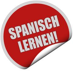Sticker rot rund curl unten SPANISCH LERNEN!