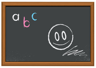 Vector illustration of a chalkboard with wooden frame.