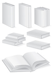Illustration set of books with hardcover.