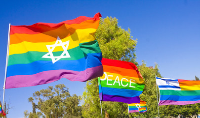 Rainbow flags with national symbols and the word PEACE.