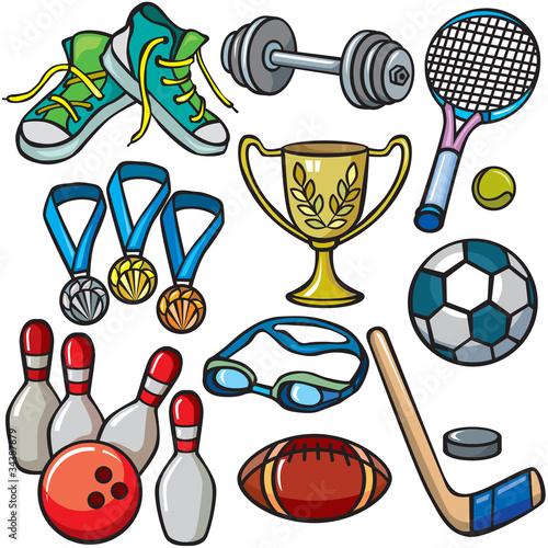 Sports equipment icon set