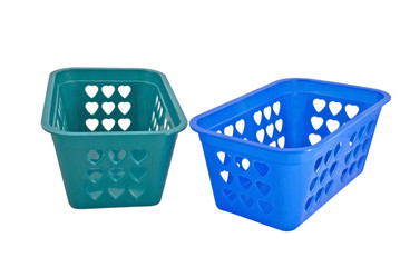 Empty plastic baskets