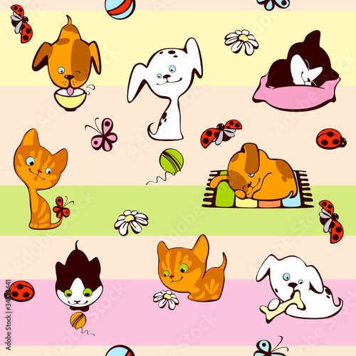 Tuinposter Katten children's wallpaper. pets background