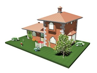 Casa di Mattoni Campagna-Country Brick House-3D-3