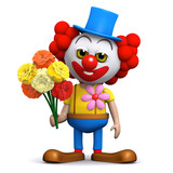 3d Clown has some flowers