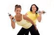 two healthy women exercising
