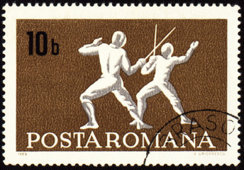 Fencing on post stamp of Romania