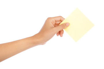 Hand holding an empty business card