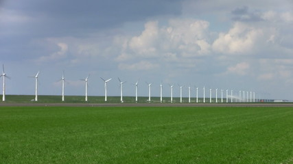 Windturbine and cloudscape in the Netherlands