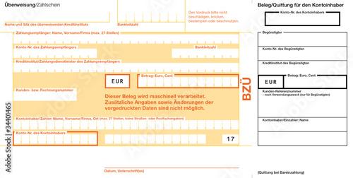 BZÜ (17) mit Quittung rechts Vektor Vorlage Bankformular