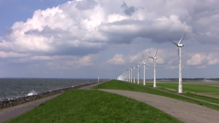 Dutch Windturbines and a cloudscape ion the Netherlands