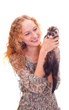 beautiful girl with the ferret