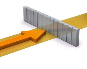 Orange arrow and wall