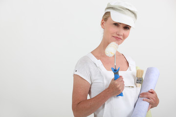 woman in white working clothes