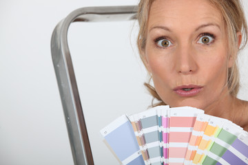 woman with color chart