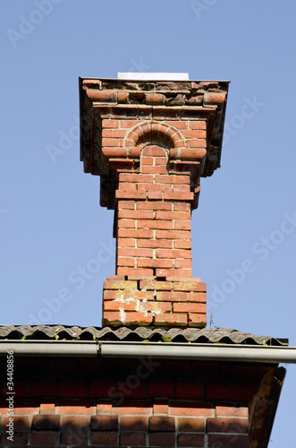Antique red brick chimney. Poster